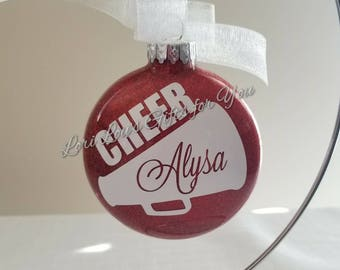 Cheer Ornament Cheer Christmas Ornament Cheerleading Glass Glitter Ornament Cheer Glitter Ornament Cheerleader