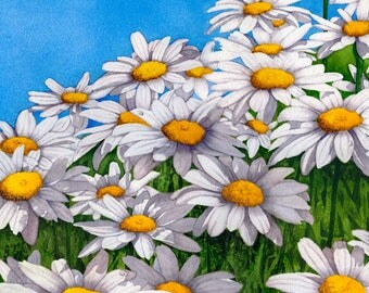 Watercolor painting...DAISY DAZE...daisy...giclee