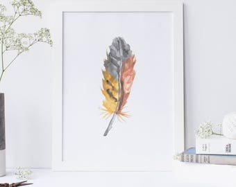 Feather Wall Art feather wall decor | etsy