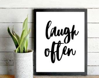 Daily motivation, Laugh often, Laugh often quote Daily quotes Laugh often print Laugh often art Laugh sign Daily inspiration Self motivation