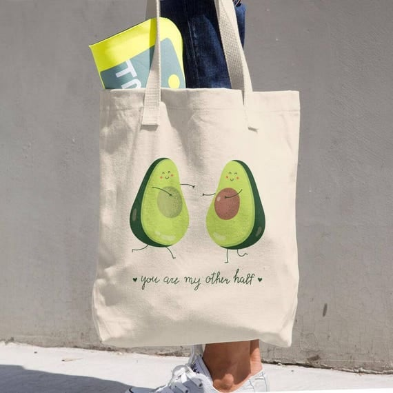 Tote Bag Funny Avocado Cotton Tote Bag - Great Grocery Bag - All-purpose Natural Cotton Tote - Made in the USA