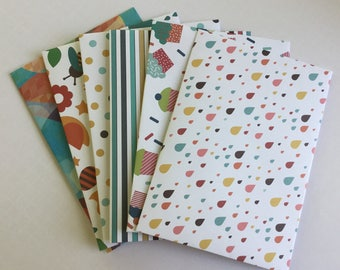 Snail mail envelopes, set of 6, cupcake, snail mail, party envelopes, pretty, gift card envelope, tea party