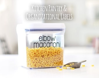 Kitchen Container Organizational Labels | Customizable Pantry Stickers | Container Set Labels | Pantry Labels | Kitchen Labels