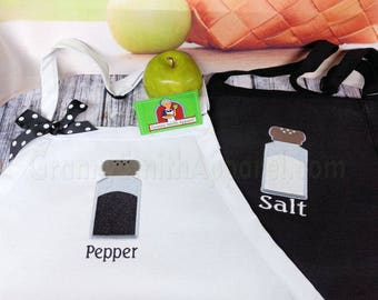 "Salt Pepper His Hers Matching set Mr Mrs Embroidered Couple's Gift Aprons. 24""L x 28""W professional 3 pocket full bib. His can be longer!!!"