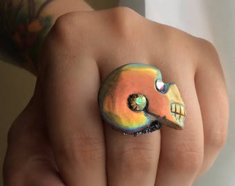 Aura Ammonite Skull & Swarvoski Statement adjustable ring