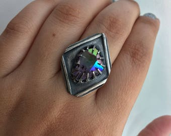 Geometric Aura Amethyst Sterling adjustable Ring (ring sizes 6-9)
