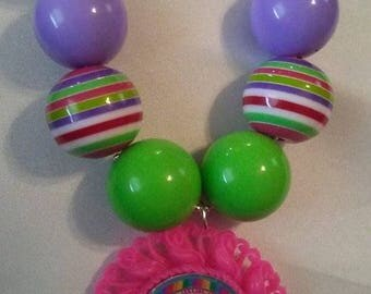 Children's Boutique Necklace, Candy Land, Pink, Purple, Green, Great gifts for  Birthday, One of a kind, handcrafted