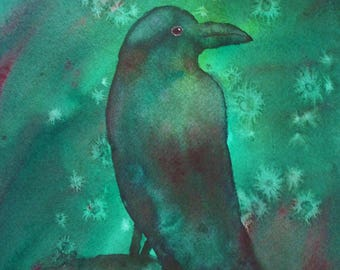 "SALE 40% Off Original Watercolor Painting, Green Raven, 9""x12"""