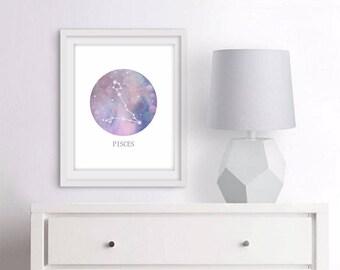 Pisces  Star Sign, pisces  Zodiac Art Print, Astrology Gift, pisces Gifts, Horoscope Art, Constellation Poster, Horoscope Decor, 3 SIZES
