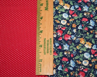 Fat Quarter Bundle, Polka Dot and Floral, 100% Cotton Fabric, Two Fat Quarters, 18in x 22in; Quilting Fabric, Quilt Pieces, Fabric Destash