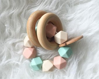 SUMMER SALE Wooden Teether Natural Toys Organic Toys Baby Teether Baby Toys Beautiful Toys Wooden Toy Wooden Rattle Baby Rattle Silicone Tee