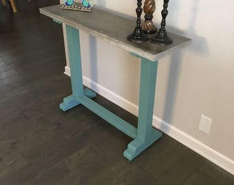 "Versatile 42"" x 12"" Enrtyway or Sofa Table with Concrete Top"