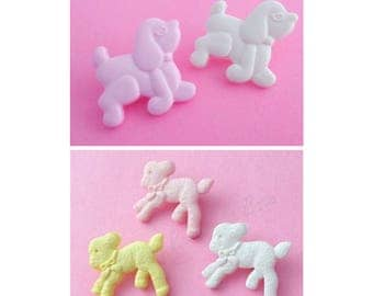 10 baby children's buttons with shanks 20mm lambs or poodle  Pink, Lemon, White