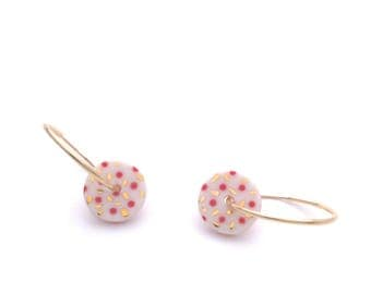 14k gold filled Porcelain Earrings, Ceramic jewelry, colorful Geometric jewelry, pink polkadot, minimalist hoop earrings, OeiCeramics