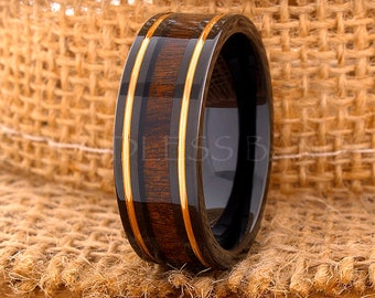 Tungsten Ring Tungsten Wedding Ring Men Women Wedding Bands Koa Wood Inlay Ring Flat Promise Anniversary Engagement 8mm Matching Ring Set