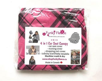 Pink Plaid 4 in 1 Multi-Use Stretchy Car Seat Cover