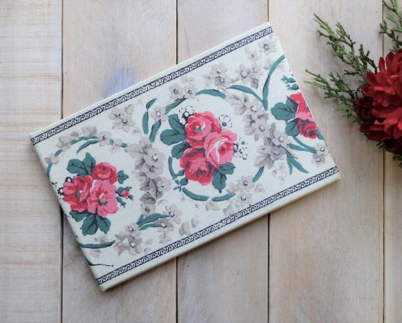 Personalized Wedding Guest Book - Antique Floral Irish Linen
