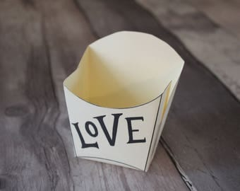 LOVE GIFT BOX love design with envelope picture french fry gift packaging gift box craft packaging handmade box valentine's wedding favours