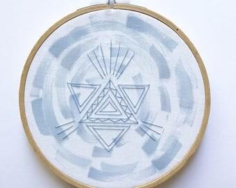 Geometric Swipes - Original Freehand Embroidery