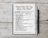 What Did He Say About His Bride, Bridal Shower Game, Wedding Shower Game, Dress, Elegant, Gray, Printable PDF, Instant Download T388I