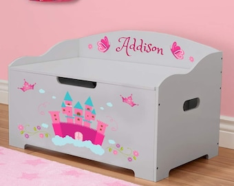 Personalized Dibsies Modern Expressions Princess Toy Box - Gray