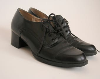 Vintage Black Leather Oxfords - Lace Up Shoe - Brogues - Heel - EU 37 US 6 UK 4 - Round Toe - Spa Easy Spirit