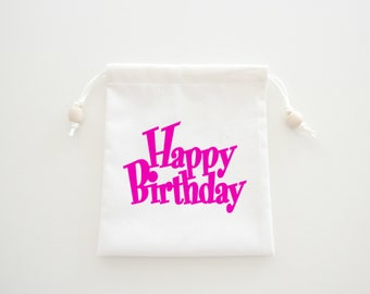 Birthday Iron On Fabric Letters, Happy Birthday Applique Design, DIY Birthday Gift Bag or Party Favors, Natural Muslin Bags