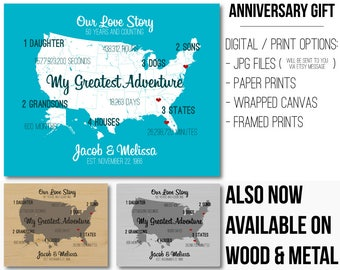 40 Year Wedding Anniversary Gift Unique Anniversary Banner 20x24 Our Story Gifts for Anniversary Memorable Gift Wedding Anniversary Present