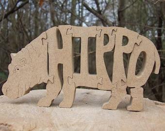 Hippopotamus  jigsaw ornament