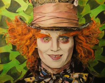 The Mad Hatter, colored pencils drawing