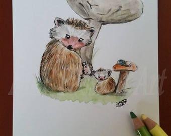 Postcard original Hedgehog family