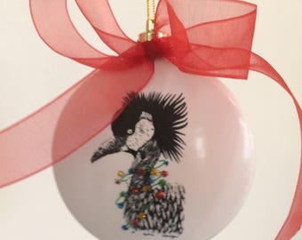 Ornament, Christmas, Holidays, Crane with multi colored glitter Christmas lights and red bow