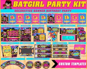 Batgirl printable party kit, Batgirl Party Birthday package, Batgirl themed party kit, Party package, Kit printable party Batgirl Pink.