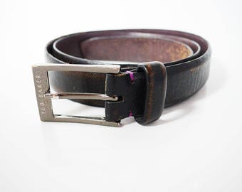 Ted Baker Original Vintage Mens Leather Belt Brown