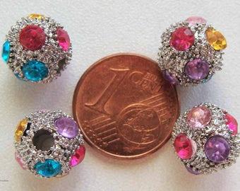 6 perles rondes 10mm support métal argenté + strass multicolores DIY création bijoux deco
