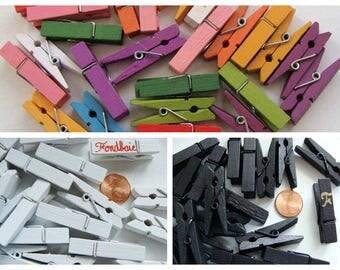 Pinces à Linge BOIS 35mm par 25 pcs ou 25mm par 50 pcs lot au choix marque-place porte-photo déco