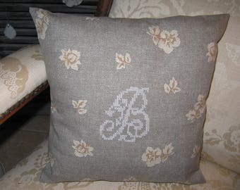 Cushion cover canvas pink print and Monogram