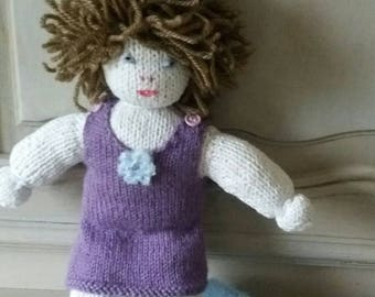 Blue and purple knitted wool doll