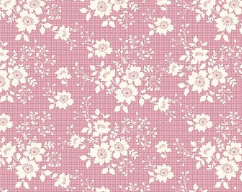 Tilda Fabric Libby, Rose. Patchwork and Quilt Designer Fabric. Flower Pattern Sewing Fabric. Doll Making Materials. Fat Quarter.