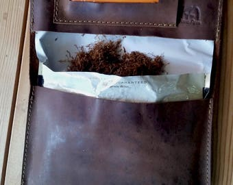 Leather Tobacco pouch Leather wallet  Handcrafted leather pouch Leather tobacco wallets