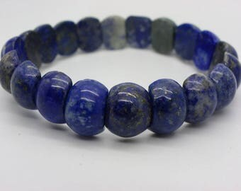 Bracelet natural lapis lazuli blue beads 14 mm