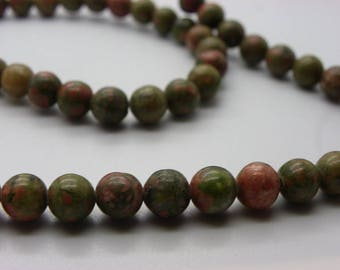 65A 68 beads about unakite 6 mm multicolor green red