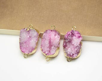 Purple Drusy Agate Slice Pendant Making,Golden Plated Edged Double Loops Charms Necklace