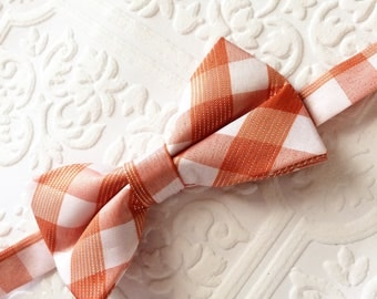 Orange bow tie,plaid bow tie, rustic bow tie, baby plaid bow tie, fall bow tie, halloween bow tie, silver bow tie boy, orange boy bow tie