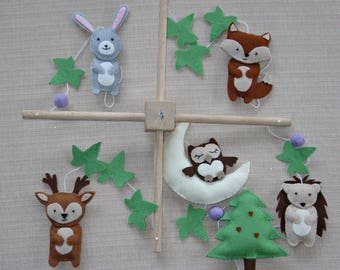 Woodland Baby Mobile, Forest Animal Baby Mobile, Woodland Cot Mobile, Nursery Mobile, Hedgehog, Owl, Rabbit, Fox Crib Mobile.