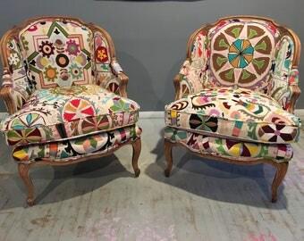Beautiful French Barrel Chairs , Suzani Boho Tub Chairs, Bohemian Decor