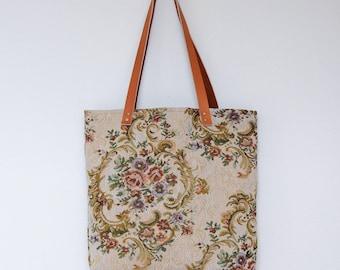 Roberta Tote Bag . Tote Bag . Floral Bag . Carry All Tote . Tote Bag with Leather Straps . Shoulder Bag . Tapestry Tote