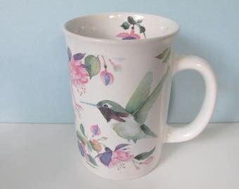 Valerie Pfeiffer Hummingbird Coffee, Tea Mug/ Birds of Capilano, Birds in Hanging Fuschias Porcelain Tea Cup