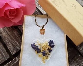 Heart necklace, lavender and elder flower necklace, romantic jewel