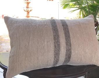 12x20 Vintage European Grainsack Oatmeal Taupe Stripe Pillow Cover